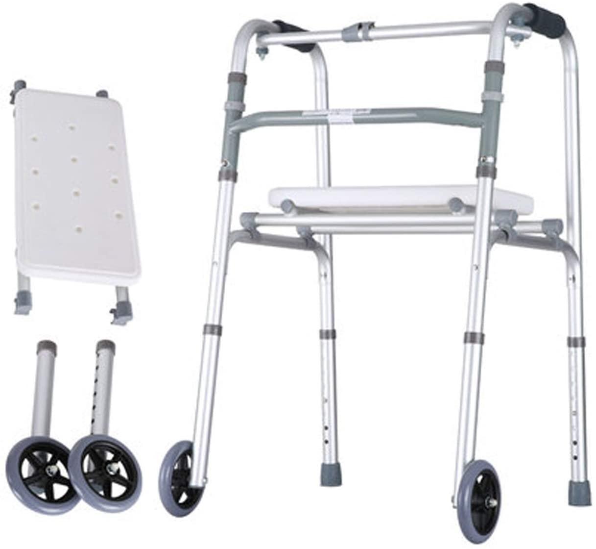 HTLLT Walking Aid Medical Instruments Aluminum Alloy Walking Walker, Carrying 2-Wheel Seat Foldable Auxiliary Walker,D