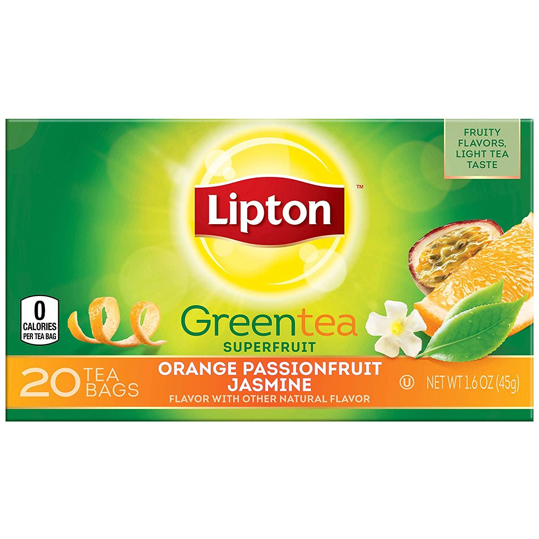 Lipton Green Tea, Orange Passionfruit & Jasmine, 20 Count Box