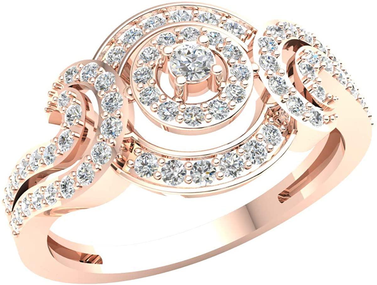 18k Gold Halo Engagement Ring For Women 0.5 Cttw Round Brilliant Cut Diamond I I1
