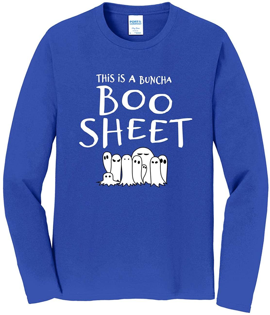 HARD EDGE DESIGN Men's Boo Sheet Long Sleeve T-Shirt, 3X-Large, Royal Blue