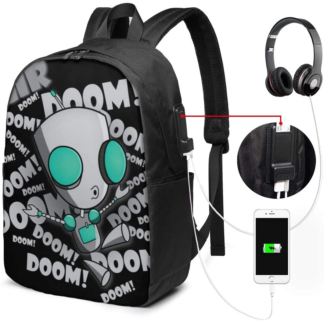 Backpack 17 Inch Laptop Backpack Travel Backpack School Bag with USB Interface Invader Zim Gir Doom Logo Elegant and Simple Design Black One Size