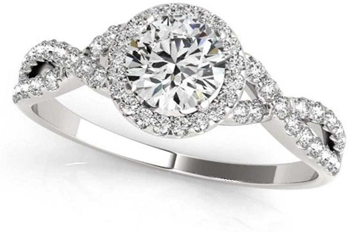 Twisted Round Diamond Engagement Ring Palladium (1.50ct)