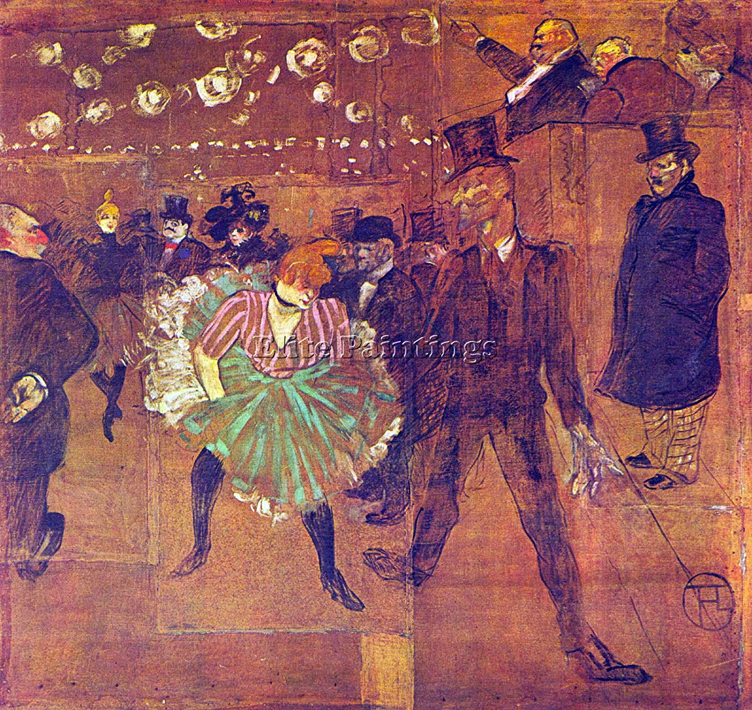 BALL AT MOULIN ROUGE BY TOULOUSE LAUTREC ARTIST PAINTING OIL CANVAS REPRO ART 40x40inch MUSEUM QUALITY