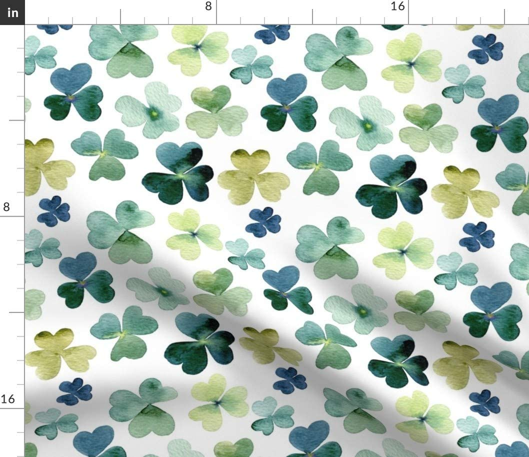 Spoonflower Fabric - Shamrock Watercolor Garden Shamrocks Clover Patricks Day Irish Green Printed on Cotton Spandex Jersey Fabric by The Yard - Fashion Apparel Clothing with 4-Way