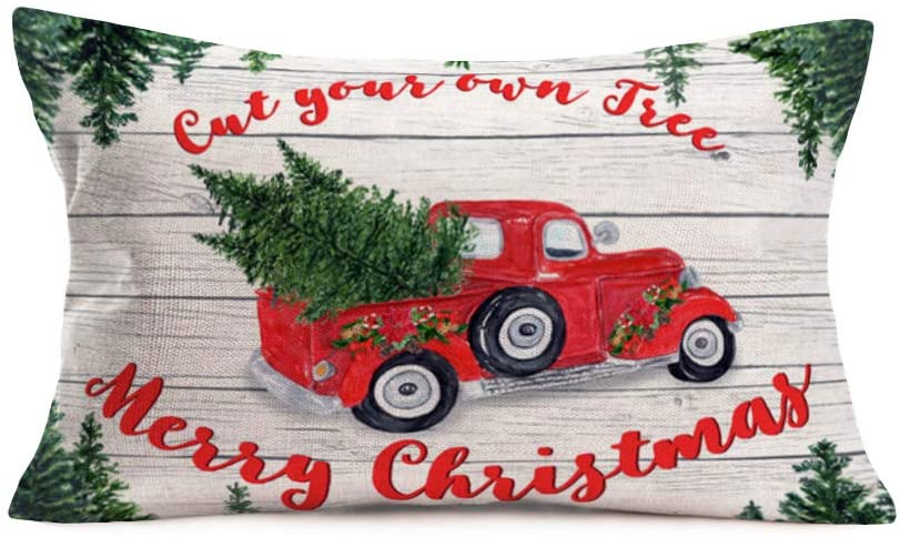 Aremetop Xmas Red Truck with Christmas Tree Throw Pillow Covers Decorative Cotton Linen Rustic Wood Grain Merry Christmas Blessing Quote Cushion Covers Farm Decor Pillowcase 12''x20''