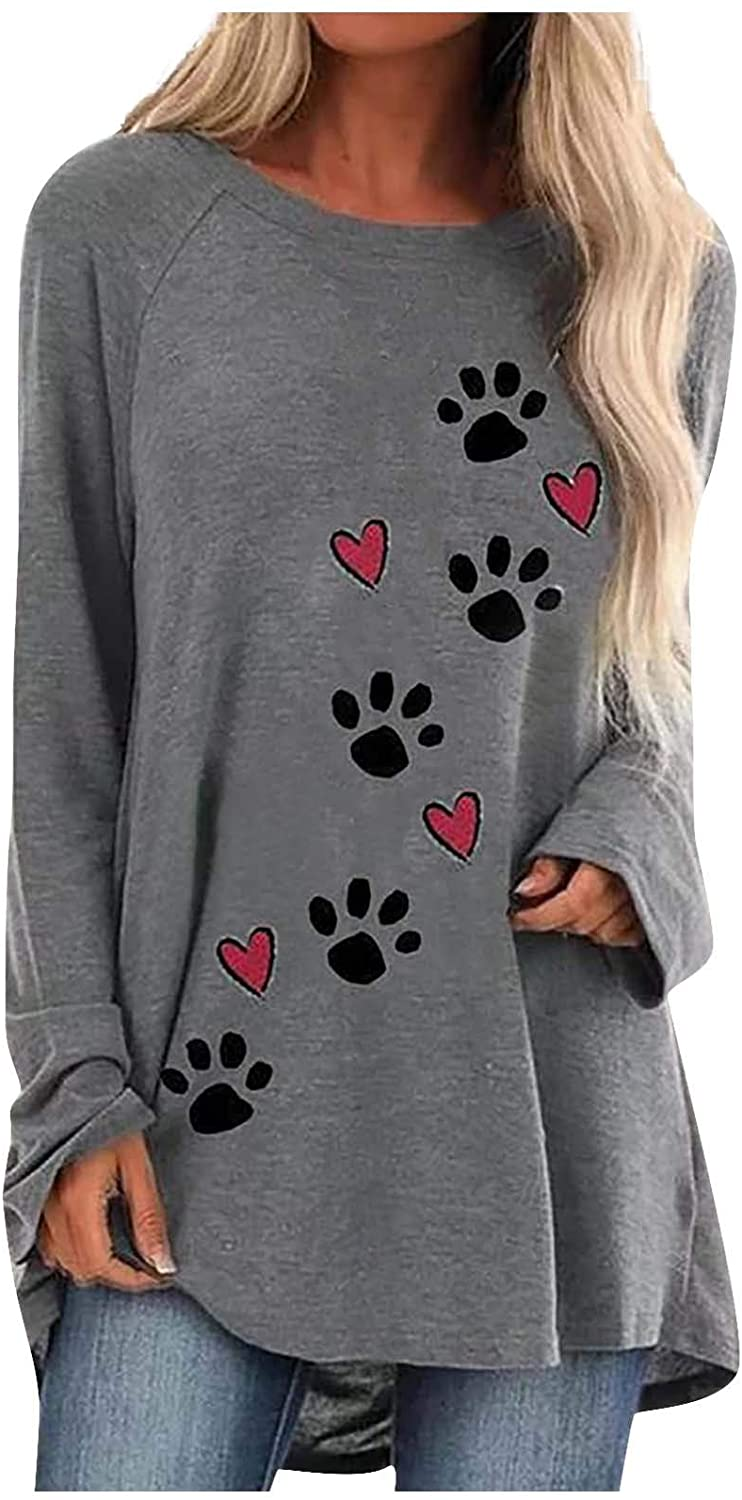 Fineday Woman Blouse, Women Fashion Puppy Claw Print O-Neck Long Sleeves Sweater Loose Tops Blouse, Clothing for Women