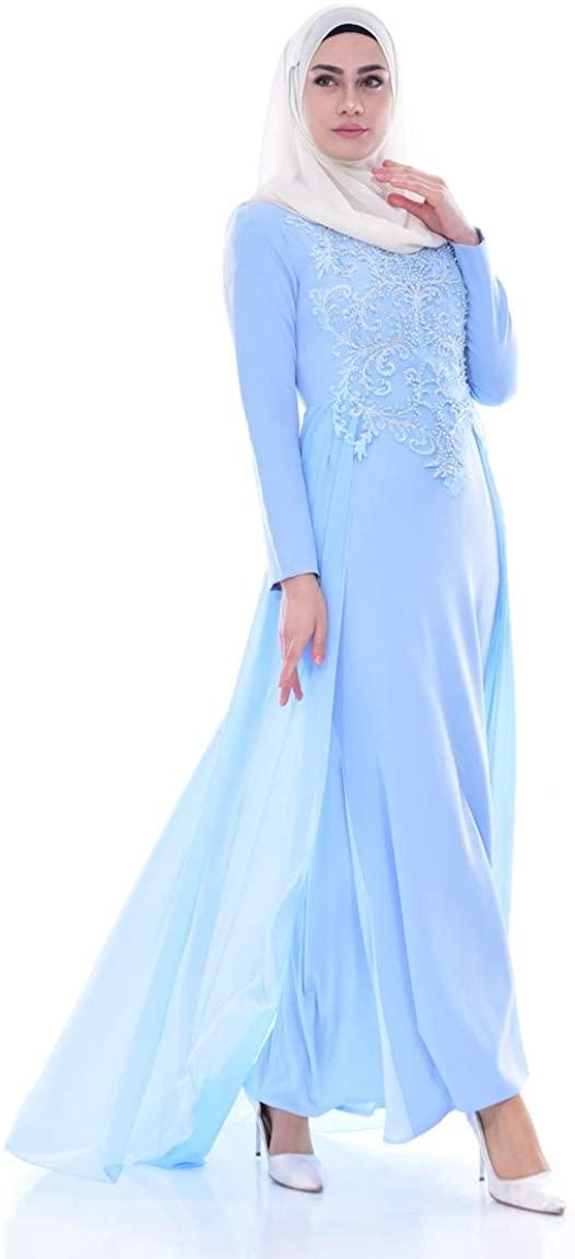 SEFAMERVE Blue Islamic Clothing Evening Dress 52690-03