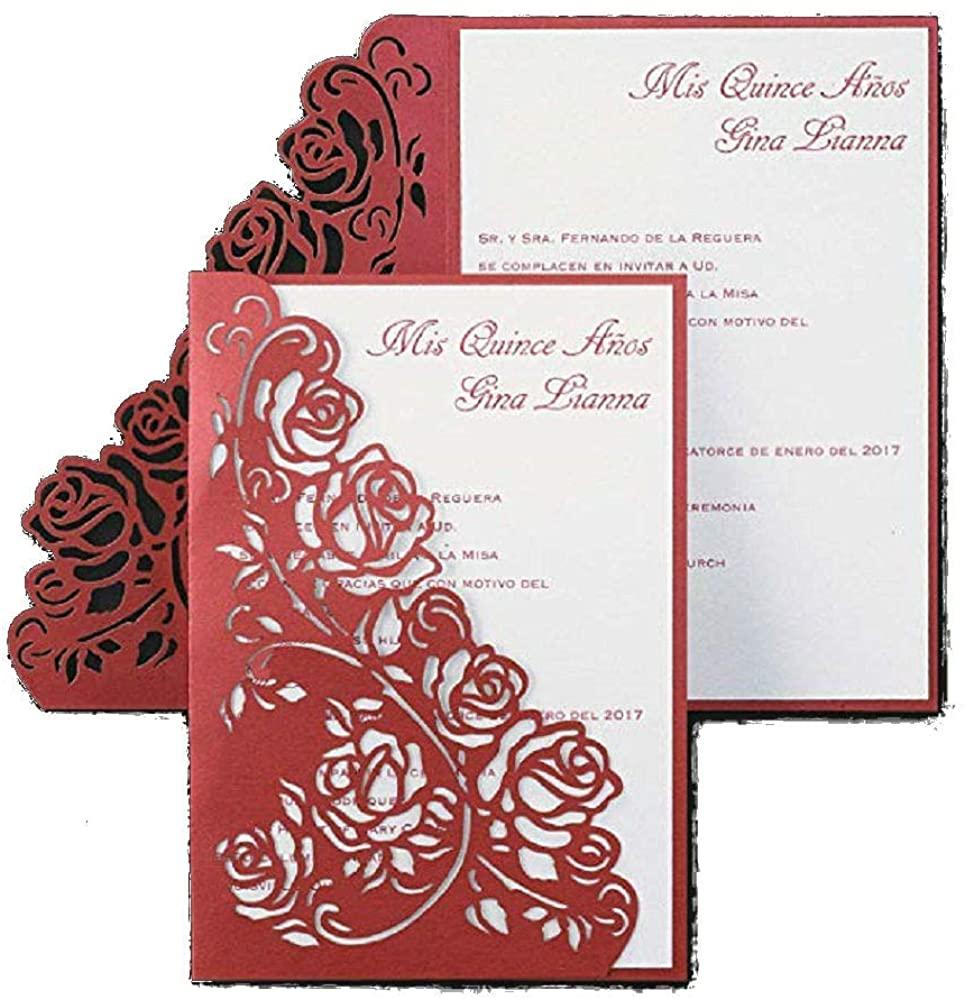 1050pk Regal Roses - Invitation-Quinceañera
