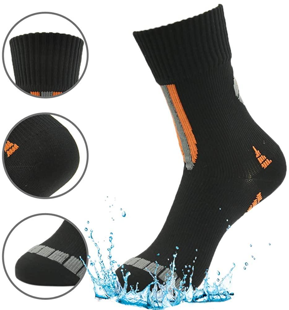 Anniversary Gifts for Her, RANDY SUN Womens Elite Crew Dri-Fit Basketball Sock Half Cushion Quarter Water Proof Socks in Hiking Outdoor Cycling Hiking Gear Black Orange S