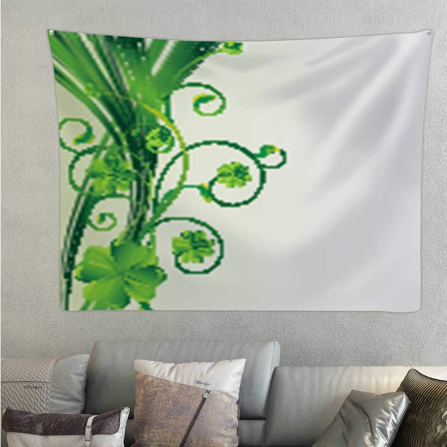 Hitecera Happy St.Patrick's Day.Clover Floral Pattern.Template p Design,Tapestry's Wall Hanging Room Decorations 59.1'' x 51.1''(WxH)