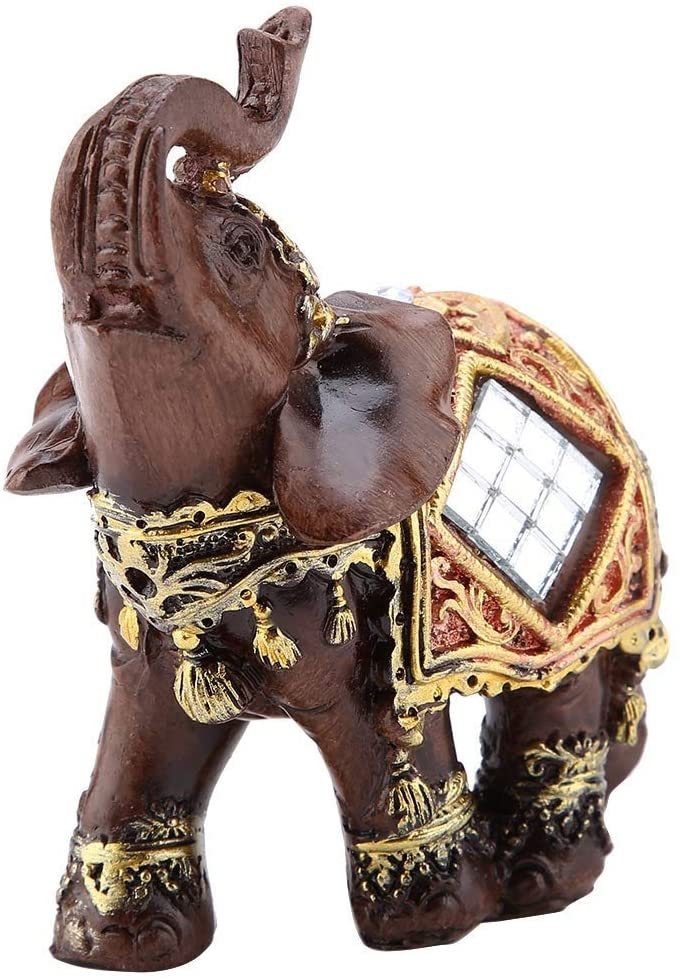 Lucky Wealth Elephant Statue Lucky Feng Shui Wood Grain Elephant Statue Sculpture Wealth Figure Gift Home Decoration Collection (S)