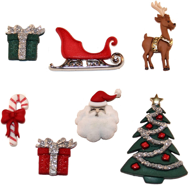 Dress It Up JBT-2464 7 Piece Christmas Eve Button Pack, 3.9 x 2.9 x 0.6 Inch, Multicolor