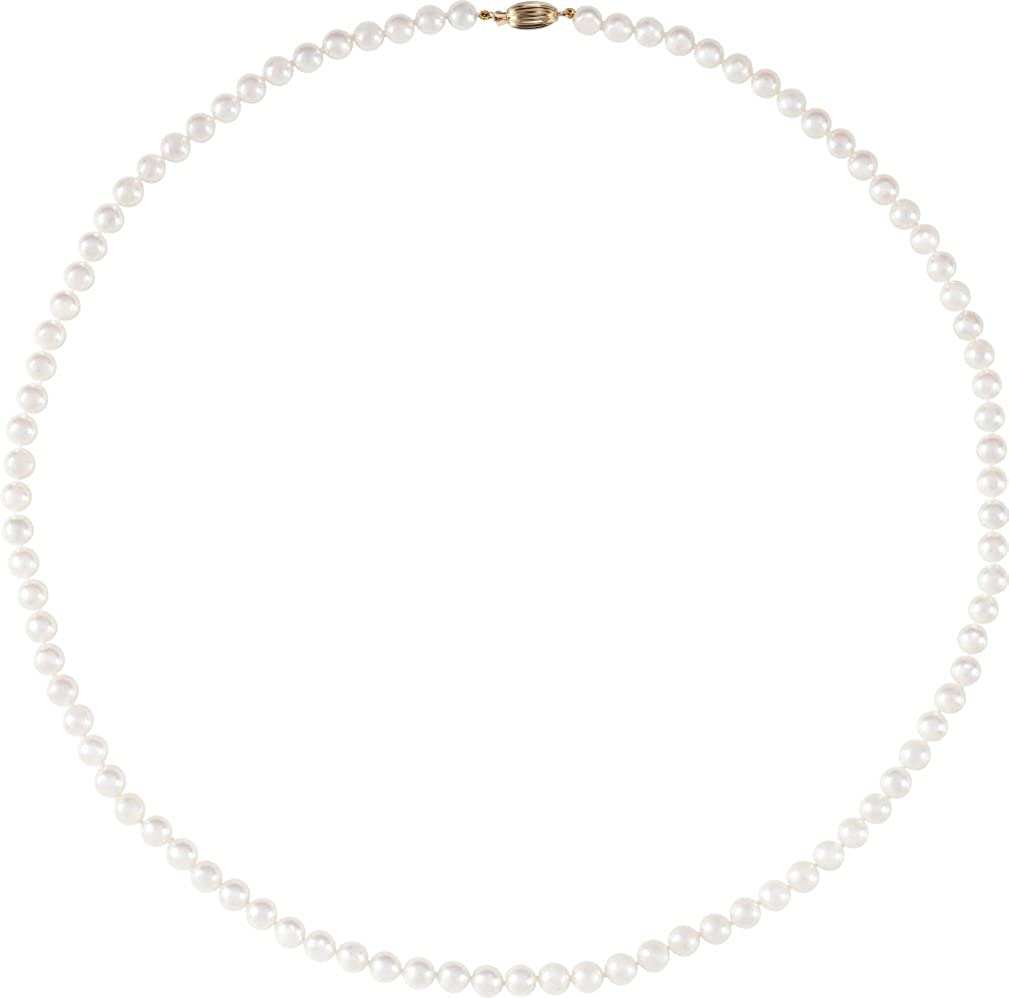Akoya Cultured Pearl Strand Necklace, 14k Yellow Gold, 24 (6-6.5MM)