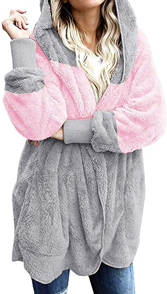 JSPOYOU Women Plus Size Jacket Coat Women's Oversized Open Front Hooded Draped Pockets Cardigan Coat