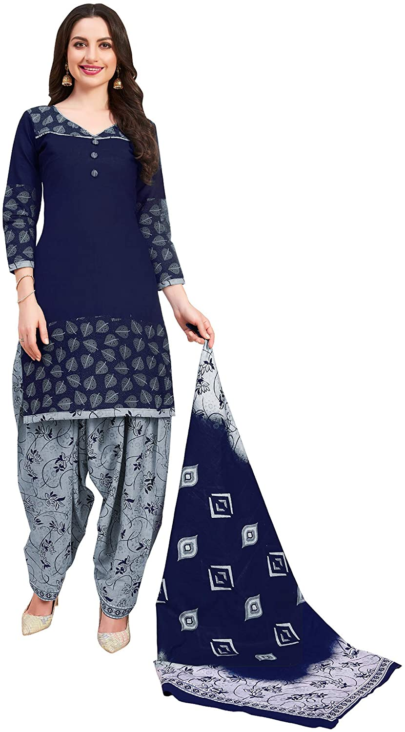 Women's Blue Pure Cotton Printed Unstitched Salwar Suits with Dupatta Dress Material Indian Ethnic Wear for Girl