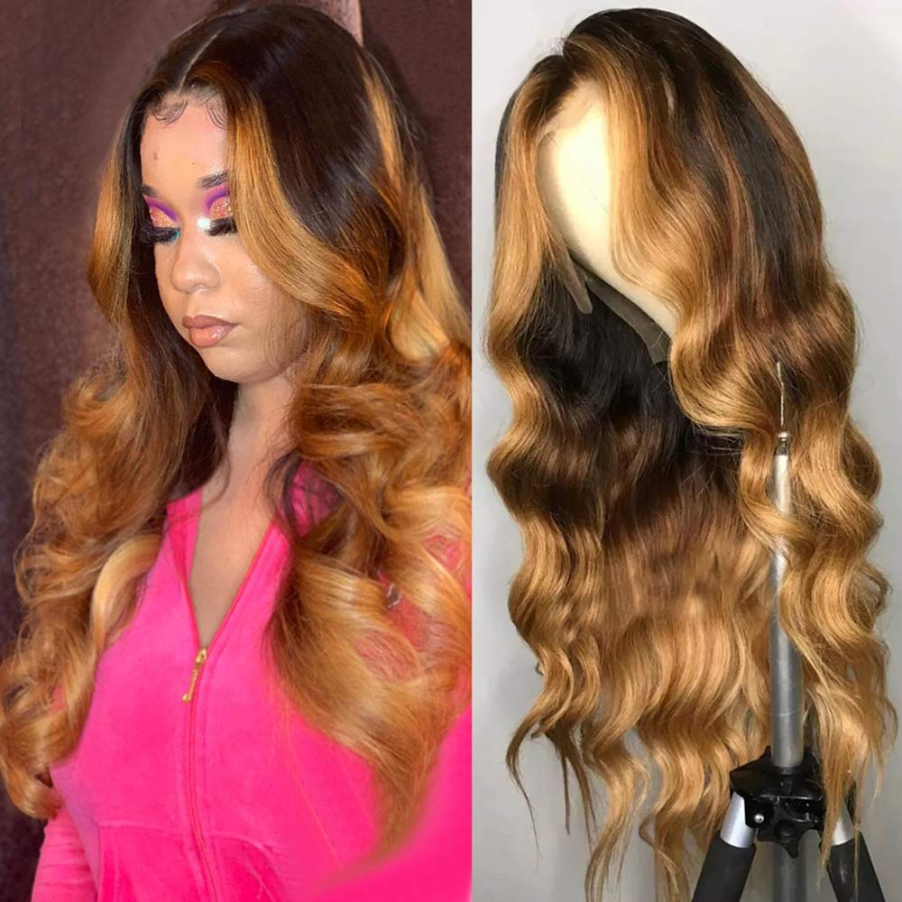 Pre Plucked Lace Front Human Hair Wigs Honey Blonde Highlight Wigs 13X1 Lace Frontal Long Body Wave Remy Virgin Ombre Brown Wig with Baby Hair for Women 18 Inch