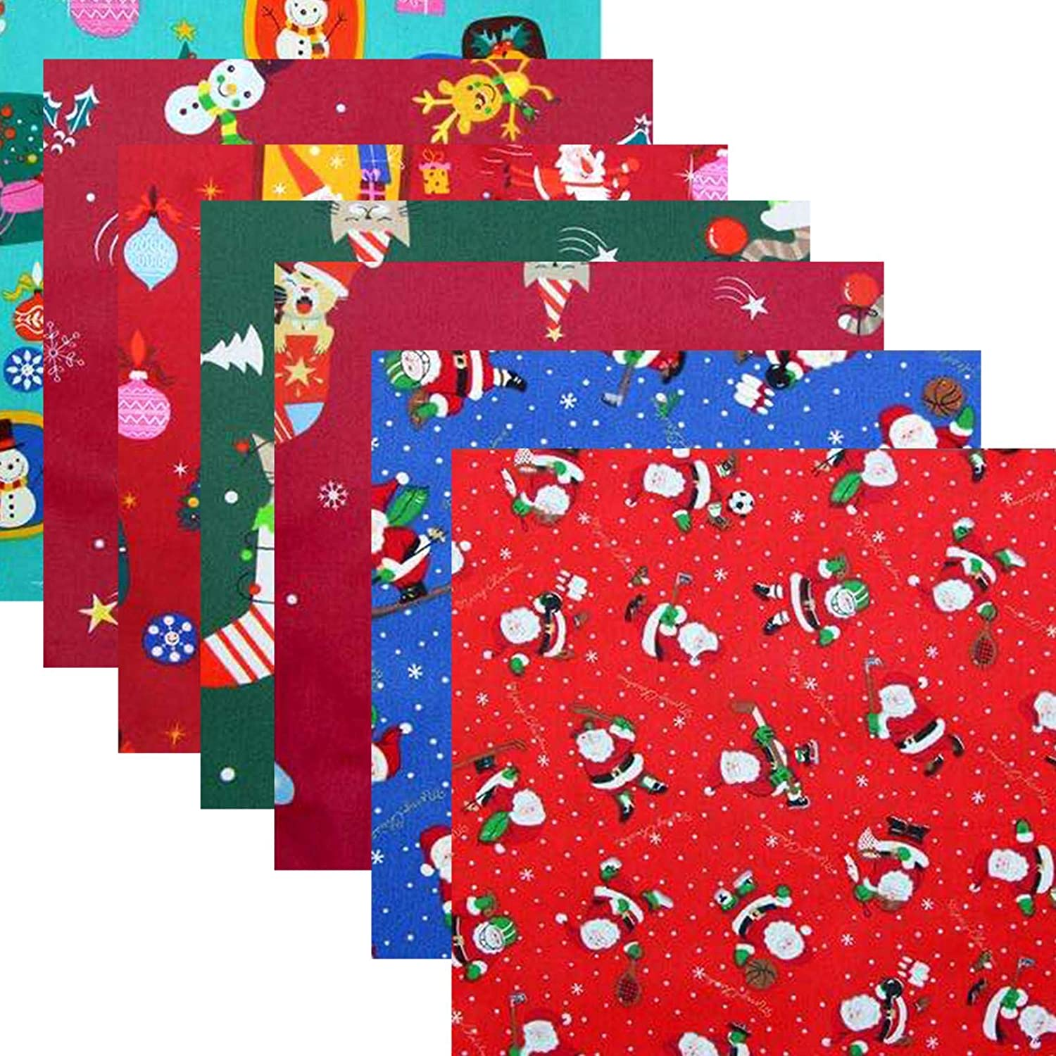 mollylower 8PCS Christmas Cotton Fabric,DIY Sewing Craft Cotton Fabric,Floral Squares Printed Quilt for DIY Clothes,Bags,Toys