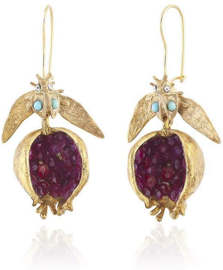 chefensty Vintage Fruit Red Pomegranate Crystal Drop Earrings for Women Fashion Jewelry