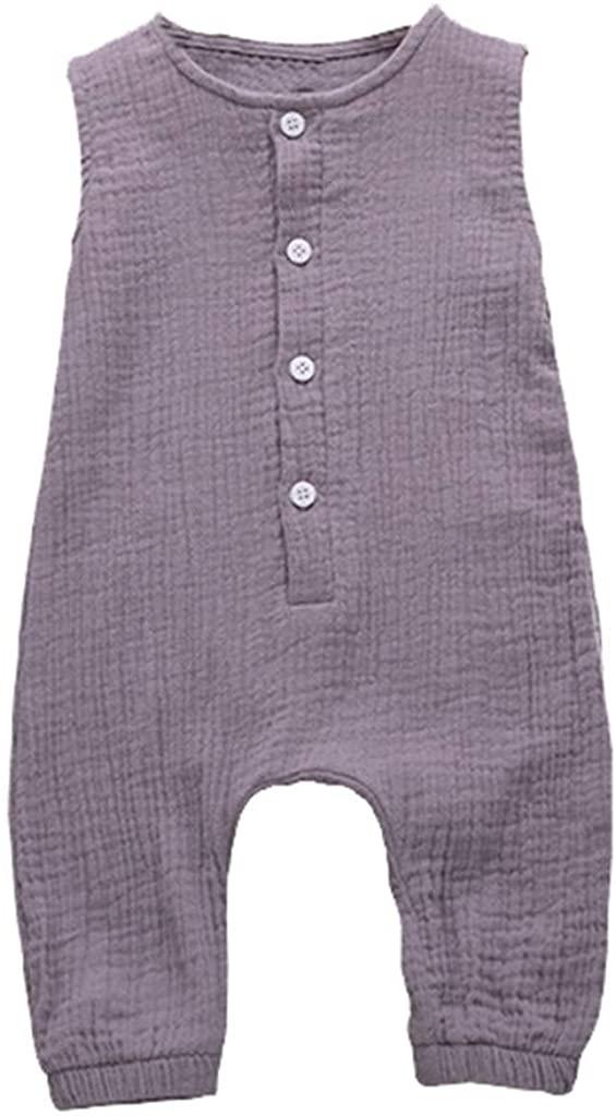 Kimanli Summer Infant Baby Boys&Girls Ruffles Solid Vest Romper Jumpsuit Clothes