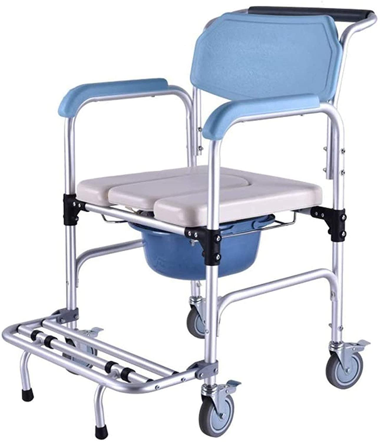 ZQTHL Shower Commode Mobile Chair,Shower Chair with Wheels, Commode Chair and Padded Toilet Seat, Medical Waterproof Shower Transport Chair with Brakes