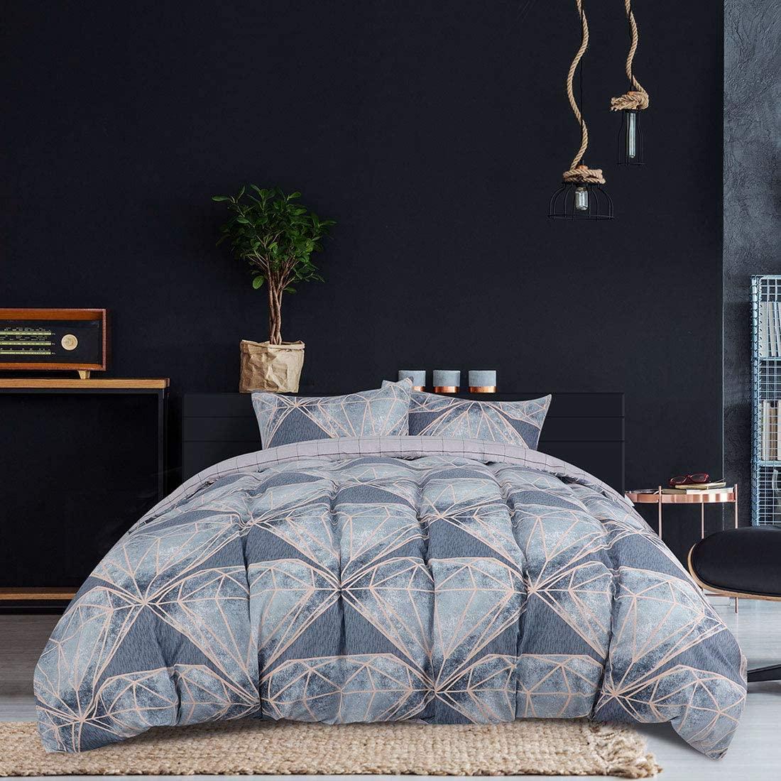 PiccoCasa Twin Duvet Cover Set, Soft Geometric Diamond Pattern Lightweight Microfiber Bedding Cover Modern Style Comforter Quilt Cover Set(No Duvet with Hidden Zip and Corner Ties (Twin)
