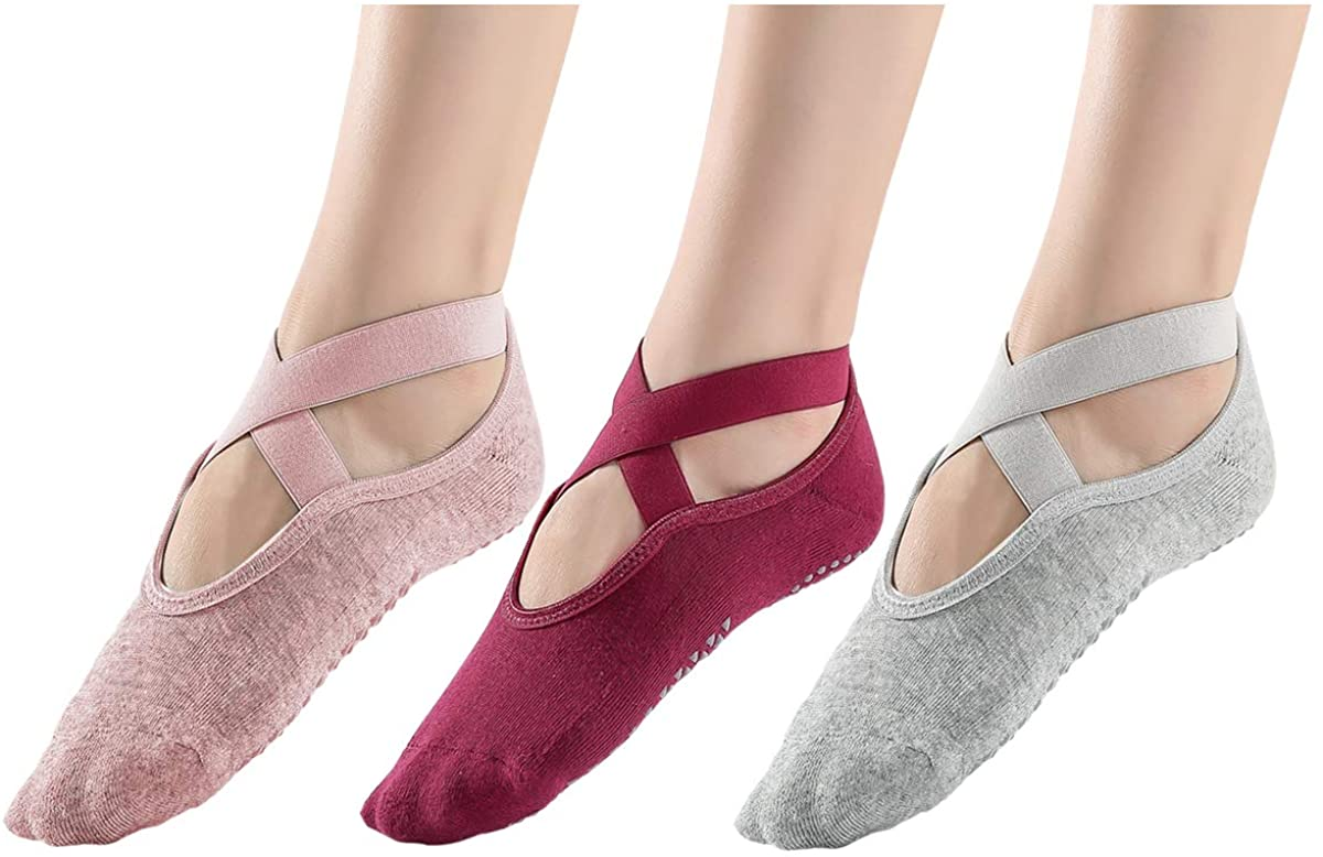AWLE Yoga Socks for Women Non-Slip Grips & Straps, Ideal for Pilates, Pure Barre, Ballet, Dance, Barefoot Workout (3 Pairs) (Imported)
