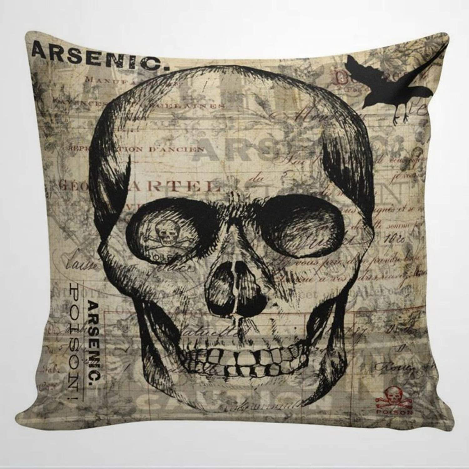 DONL9BAUER Throw Pillow Case, Vintage Halloween Skull Poison Label Arsenic Square Pillow Cover Decorative Cushion Cover for Home Car Sofa Couch Bed Decor, 16x16 Housewarming Gift