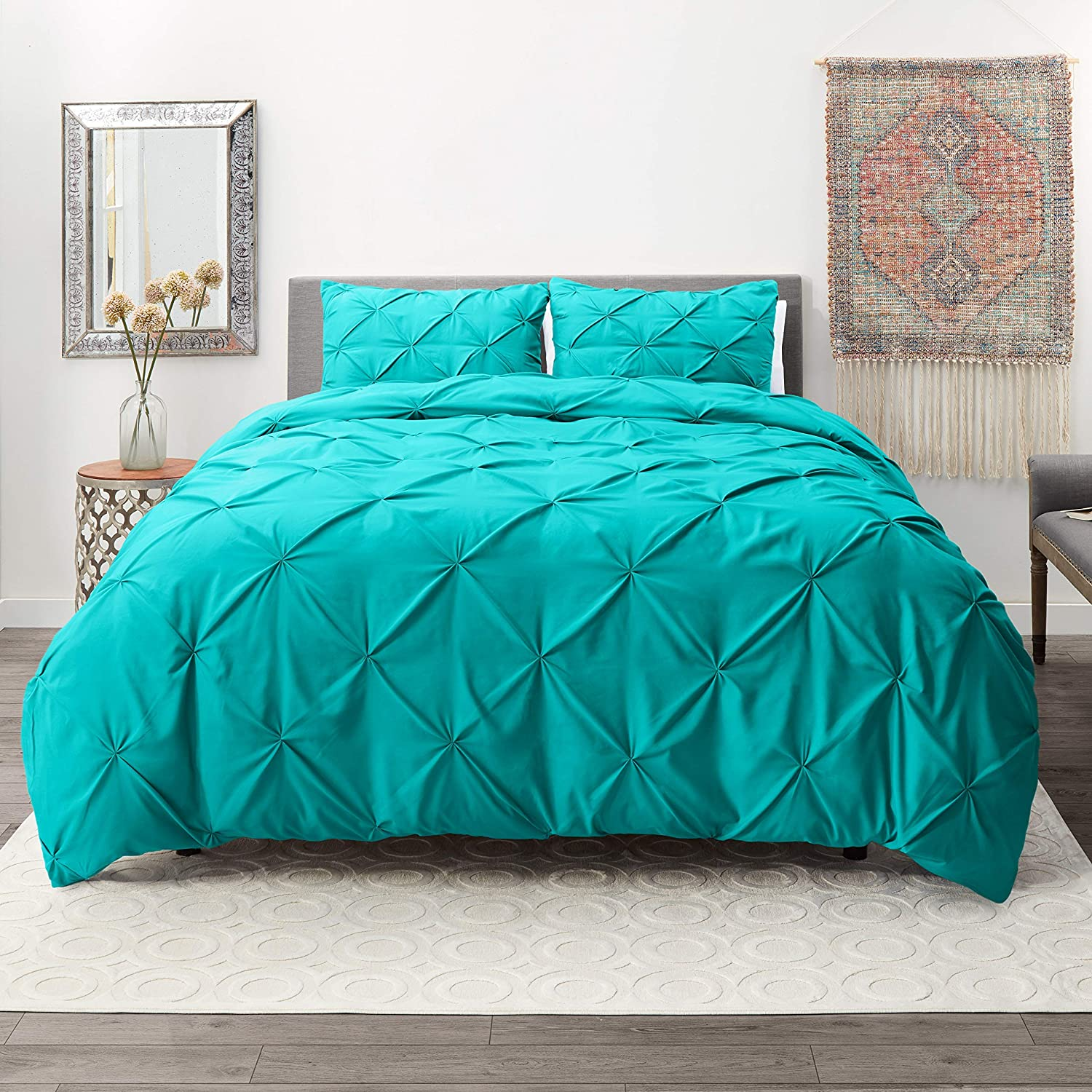 Hotel Signature Comfy Dot Bedding 3 Piece Pinch Pleat Duvet Cover Set Organic Cotton Duvet Cover with 2 Pillow Shams - (Twin/Twin XL Pinch Teal)