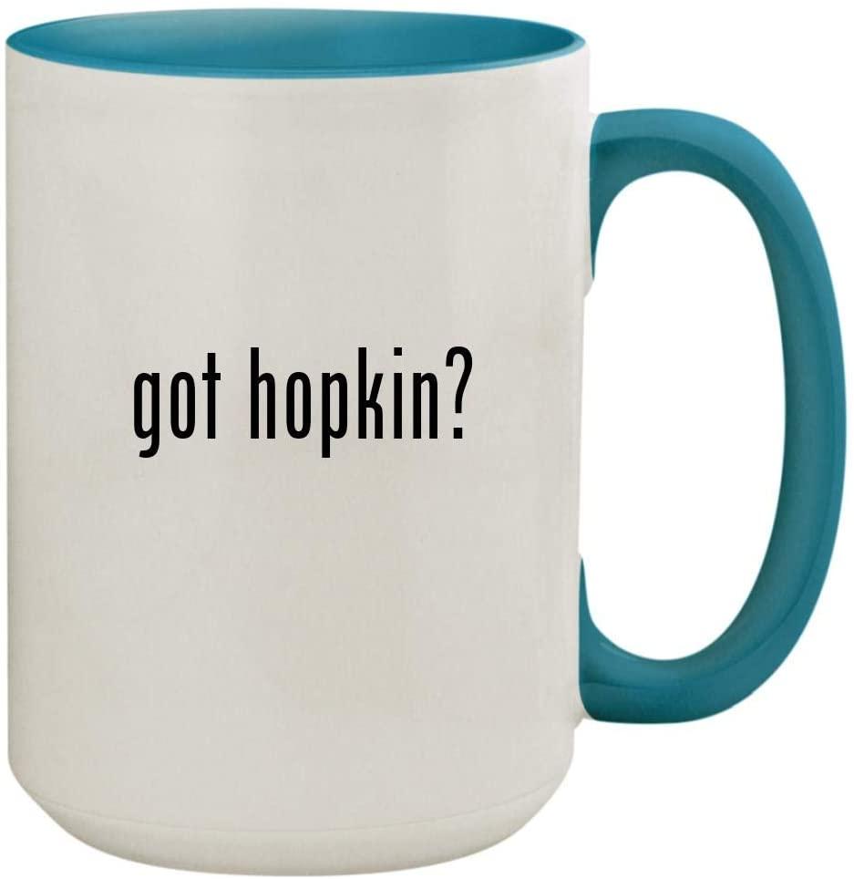 got hopkin? - 15oz Ceramic Colored Inside & Handle Coffee Mug Cup, Light Blue