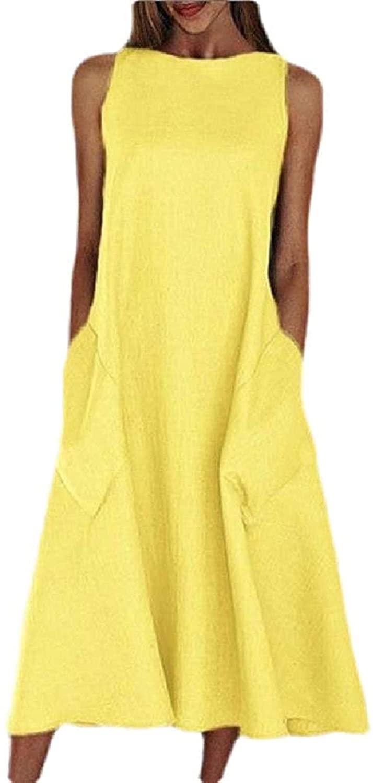 Zeious Women Summer Pockets Sleeveless Casual A-Line Solid Beach Midi Dress