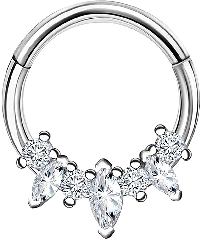 Jewseen Sparkling CZ Hinged Segment Rings 16g Daith Earrings Helix Tragus Cartilage Piercing Jewelry for Women