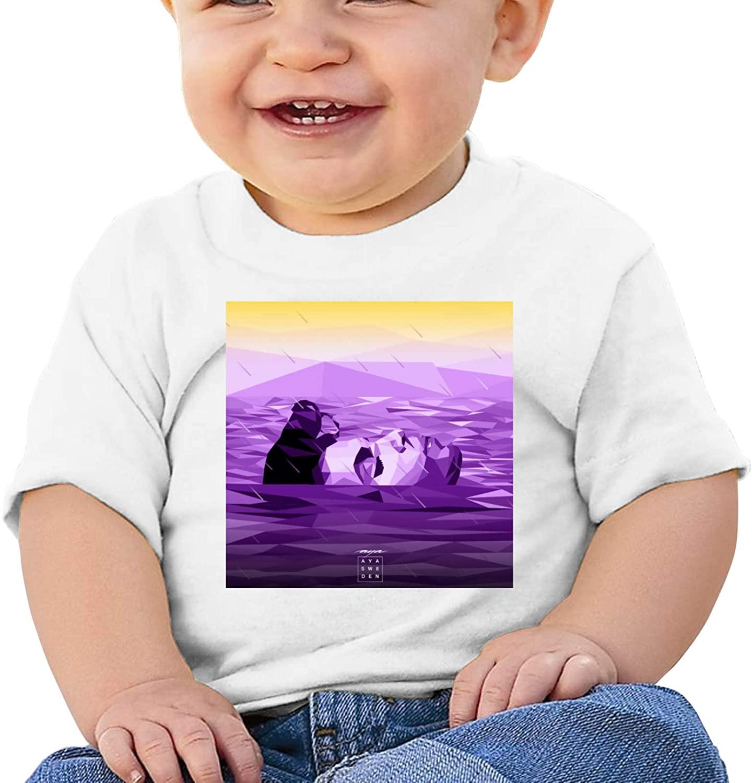 Purple Rain Girls' Baby Boys T-Shirt, Short Sleeve Crewneck Tees Short-Sleeve Slip-On Shirts, 100% Organic Cotton White