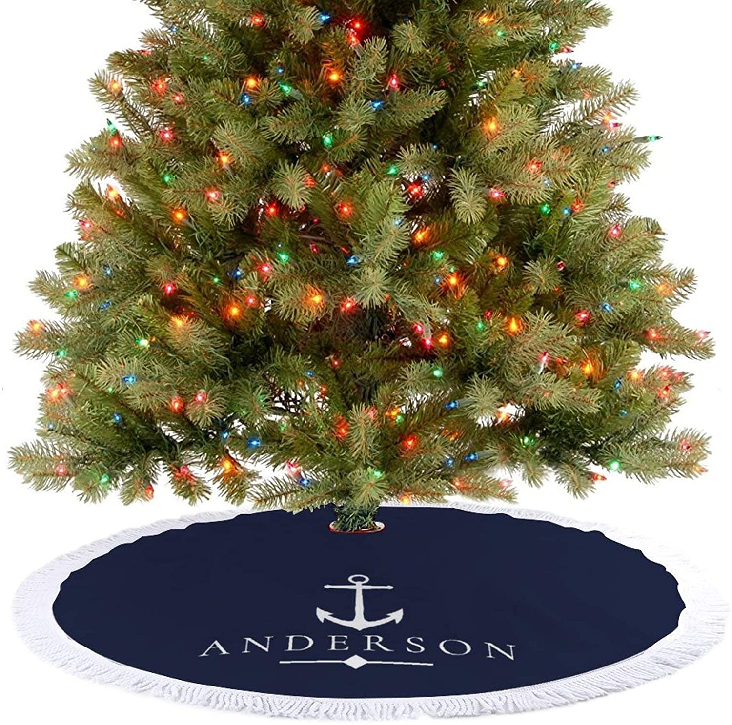 JHSLAJ Nautical White Anchor & Navy Blue Personalized Christmas Tree Skirt for Xmas New Year Holiday Decorations Indoor or Outdoor