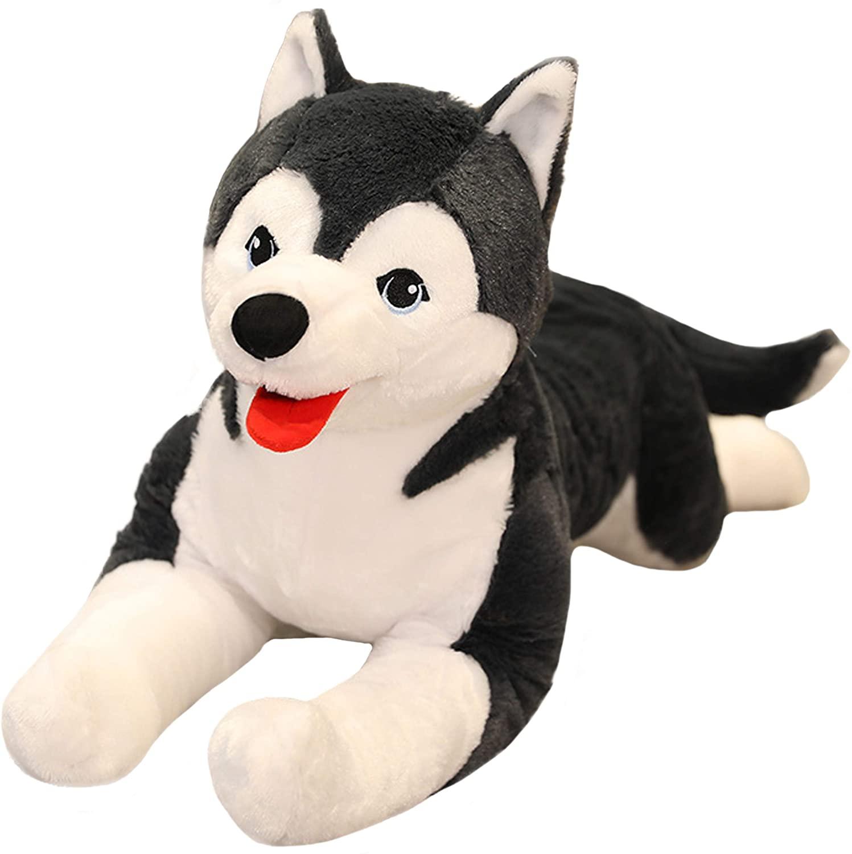 N-A Lifelike Siberian Husky Dog Plush Alaskan Malamute, 27.6Inch Large Soft Stuffed Animals Toy Puppy Hugging Pillow Decor Gifts for Xmas, Thanksgiving, Birthday (Gray)