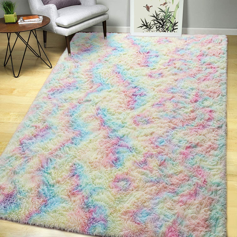 AROGAN Luxury Fluffy Girls Rug for Bedroom Kids Room 5 x 8 Feet, Super Soft Rainbow Area Rugs Cute Colorful Carpet for Nursery Toddler Home
