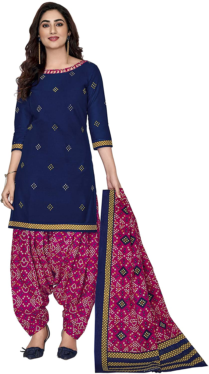 Women's Cotton Unstitched Salwar Suits with Dupatta Dress Material Indian Ethnic Wear for Girl Blue