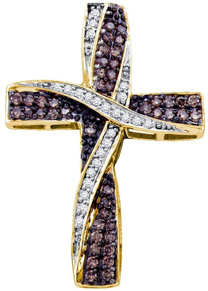 The Diamond Deal 14kt Yellow Gold Womens Round Cognac-brown Color Enhanced Diamond Bound Cross Pendant 1/2 Cttw