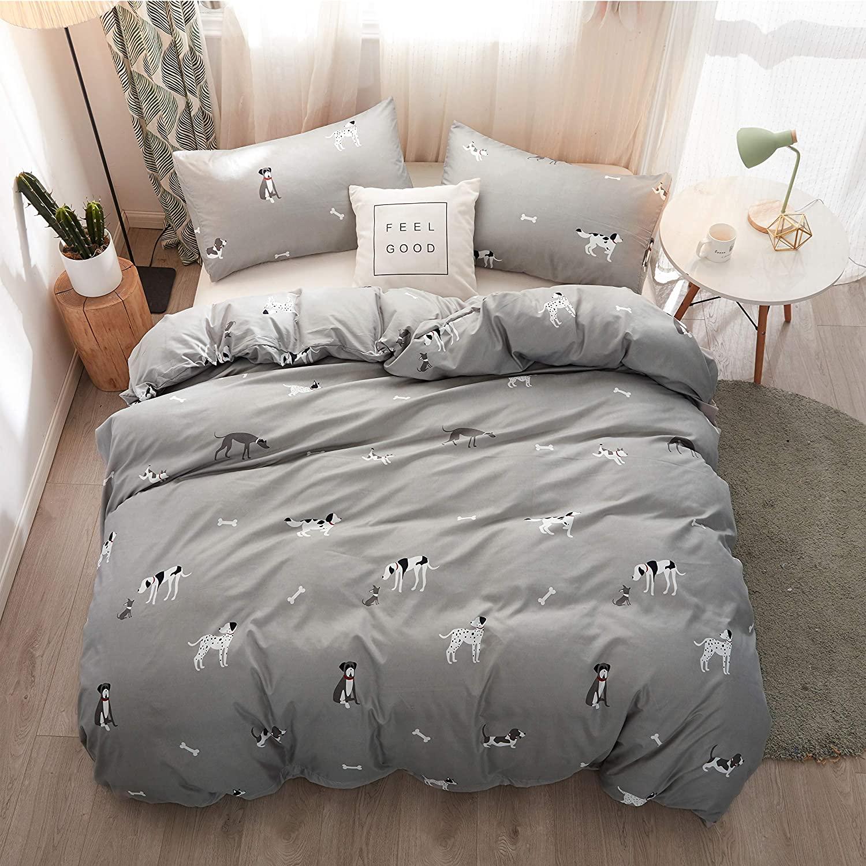 LAMEJOR Duvet Cover Set Queen Size Cute Dog Theme Cartoon Puppy Family Pattern Luxury Soft Bedding Set Comforter Cover(1 Duvet Cover+2 Pillowcases) Gray