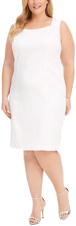 Kasper Womens Plus Size Animal-Print Jacquard Sheath Dress, Cream, Size 16