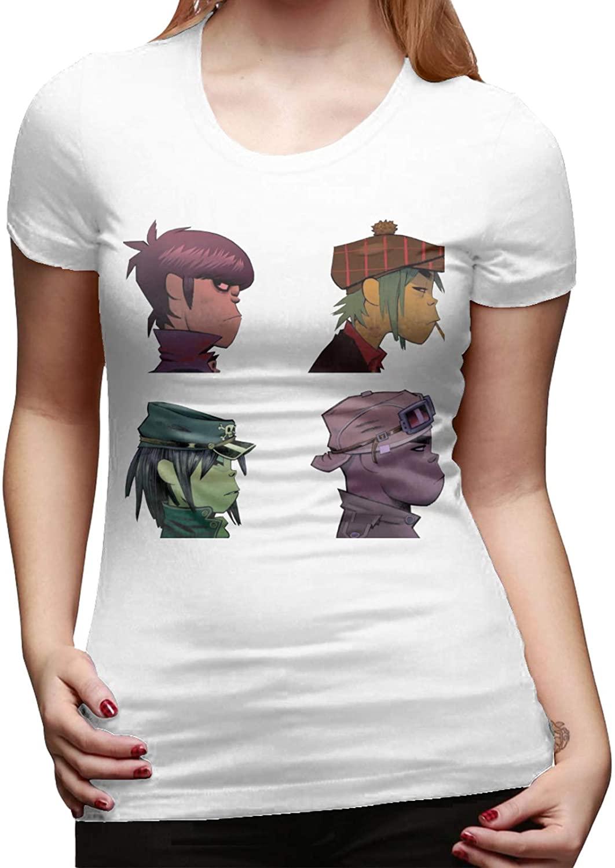 Women's Gorillaz Graphic Tee Summer Short Sleeve Casual T-Shirt Cotton Blouse