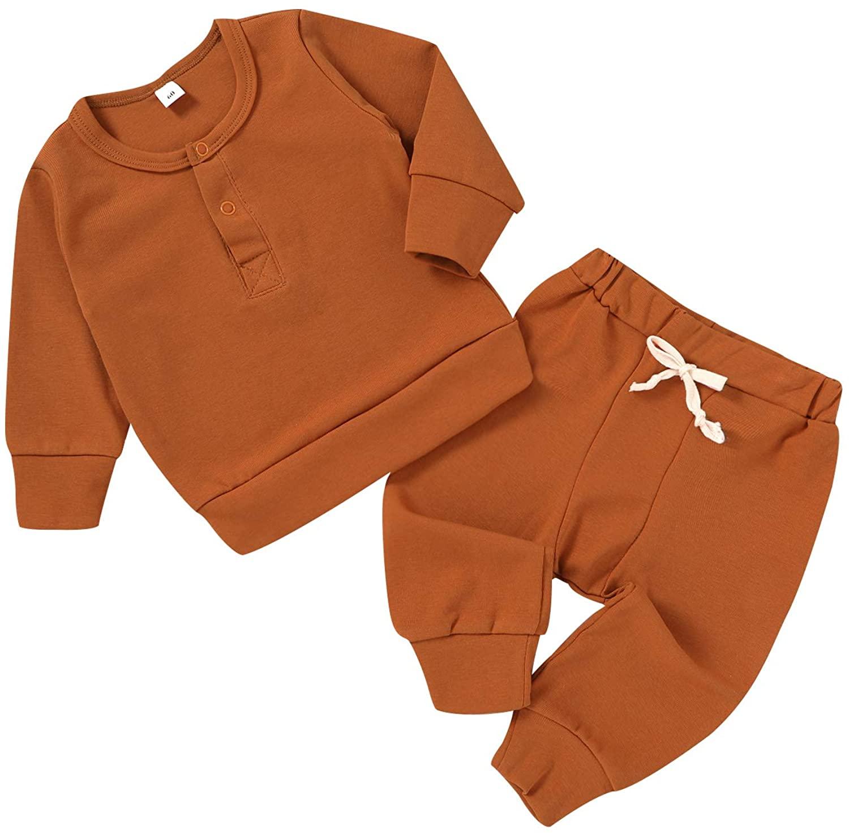 2Piece Newborn Baby Boy Girl Fall Clothes Long Sleeve Button Shirt Top+Drawstring Pants Outfit Pajamas Set