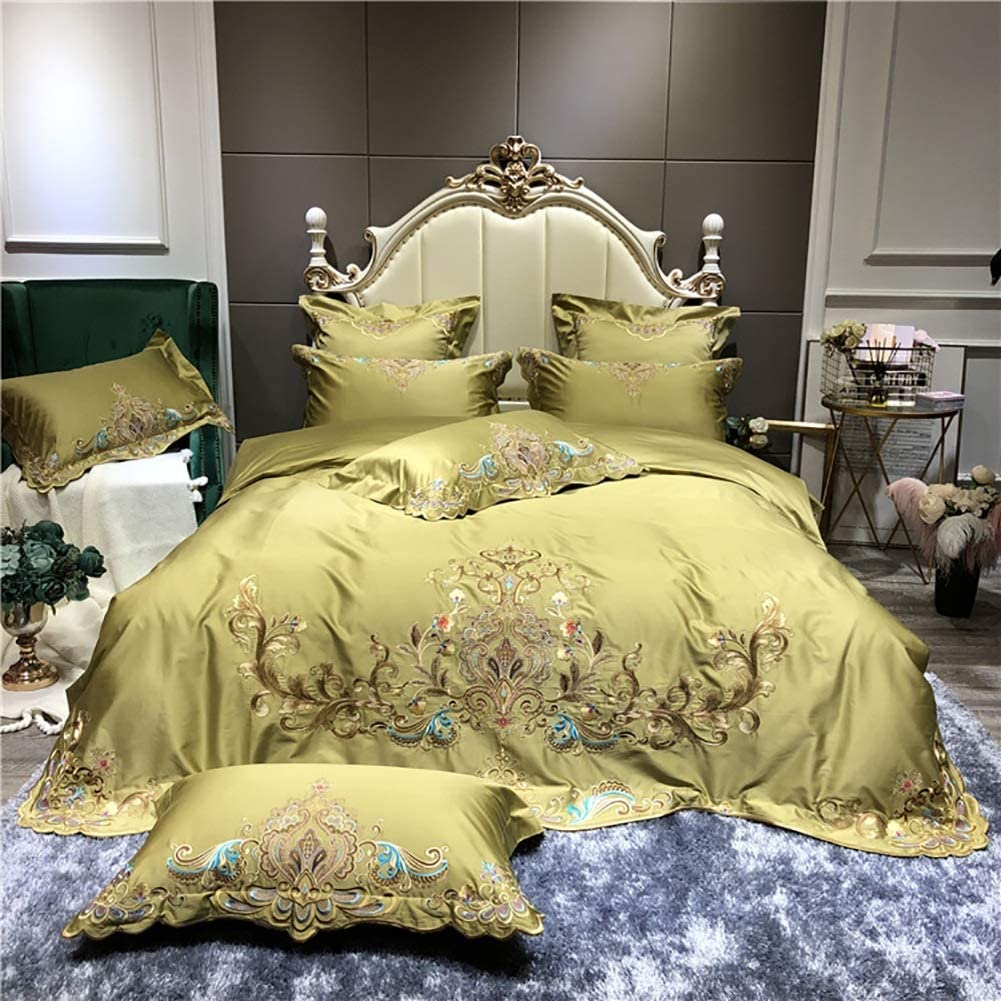 Bedding Printed Duvet Cover Set - 4Pcs Brushed Microfibre Duvet Cover With Pillowcases 100% Cotton Anti-wrinkle Home Textile Lace Edge Soft Smooth Duvet Sets King Size Queen Yellow Worth having