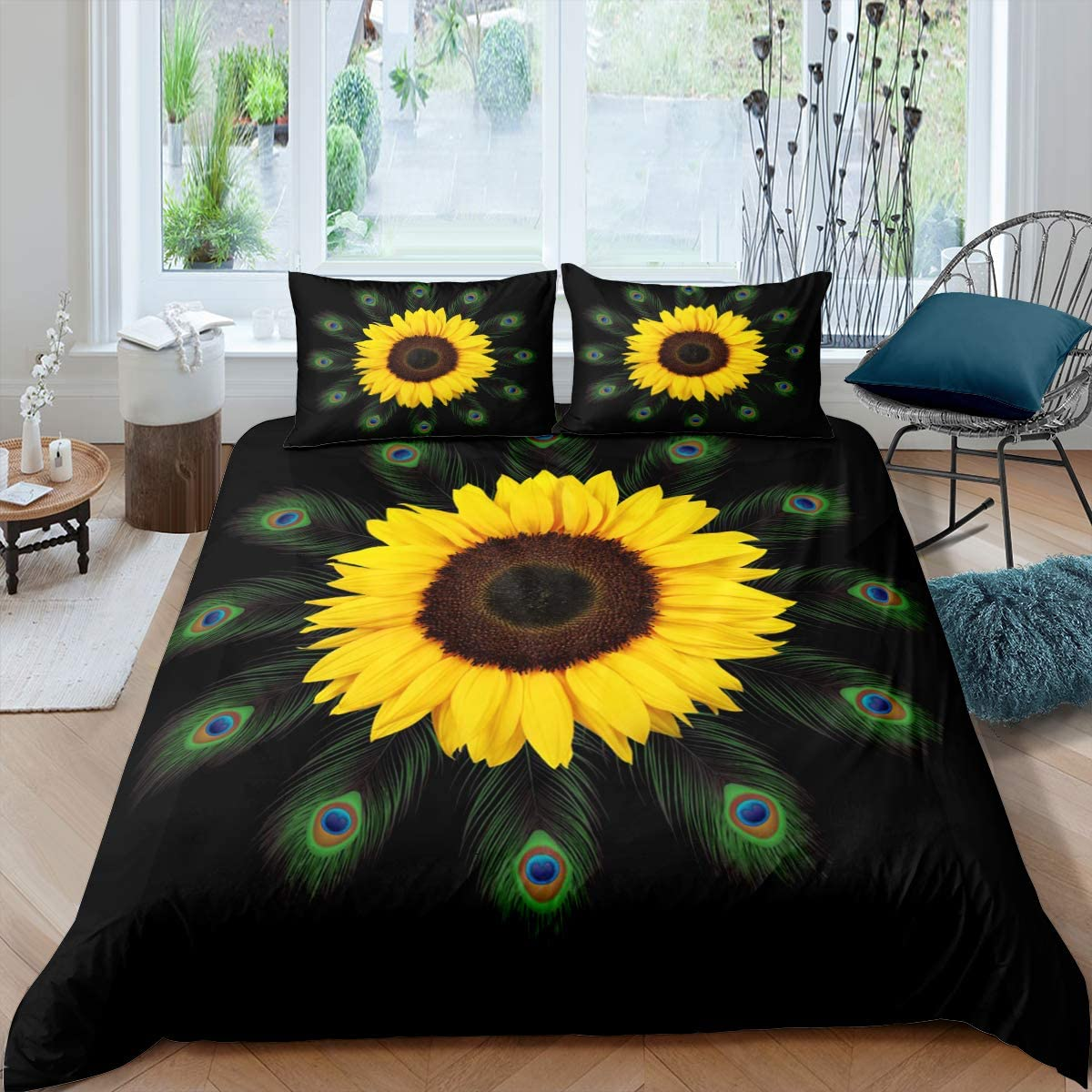 Erosebridal Sunflower Comforter Cover Green Peacock Feather Bedding Set Yellow Floral Botanical Duvet Cover for Kids Girls Women Wild Animal Skin Element Quilt Cover with 2 Pillow Cases Queen Size
