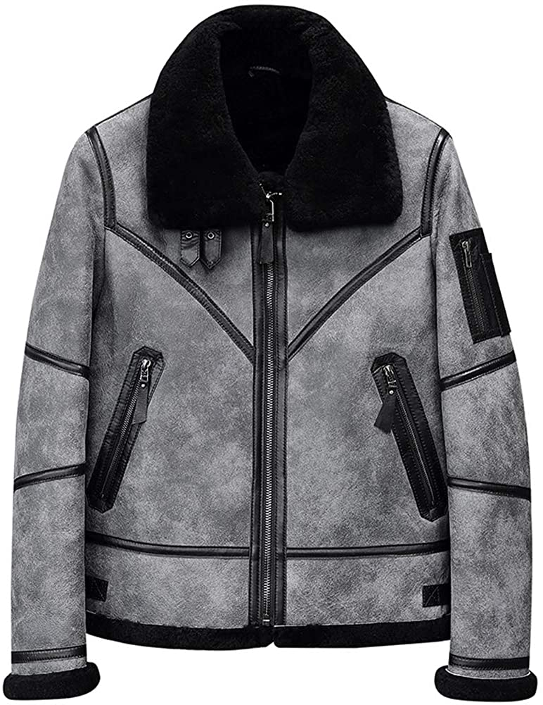 Mens Shearling Jacket B3 Flight Jacket Sheepskin Aviator Winter Coat Fur Bomber Leather Jacket