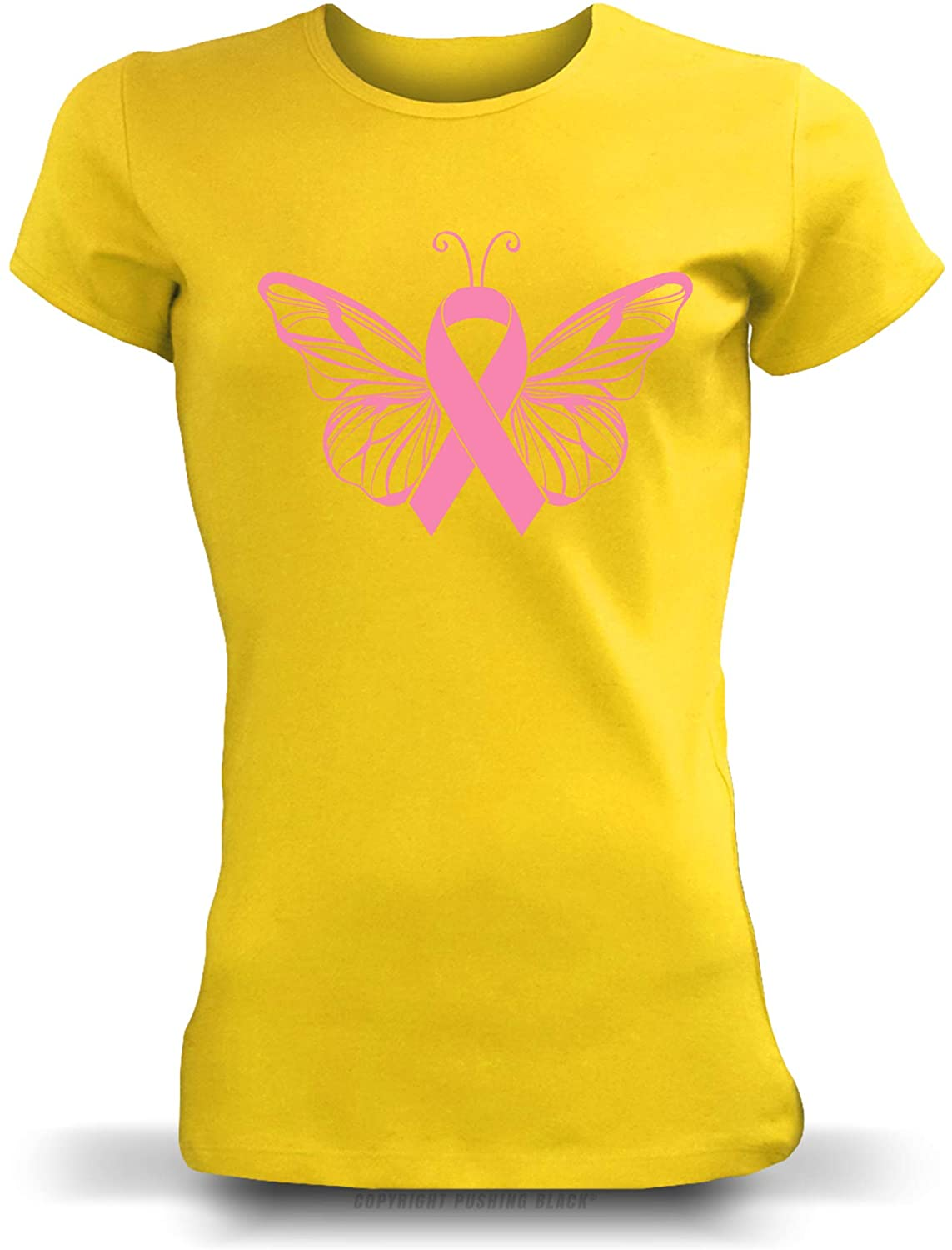'Breast Cancer Awareness Ribbon Butterfly ' Ladies T-Shirt