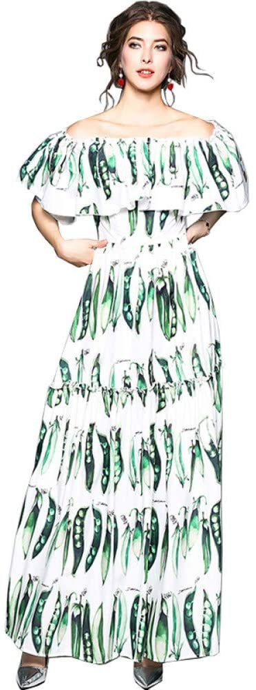 FLLLYQ Womens Dress,Summer Boho Style Long Dress Women Slash Neck Off Shoulder Beach Pea Pod Printing Vintage Maxi Dress