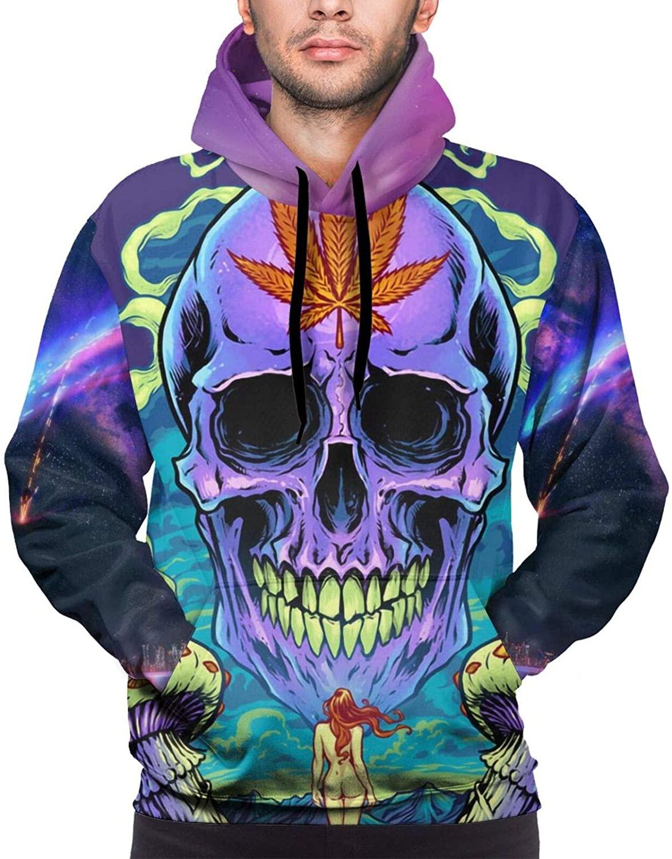 Leaf Skull Mans Hip Hop Pullover 3D Hooded Sweatshirt Cozy Pocket Hoodies