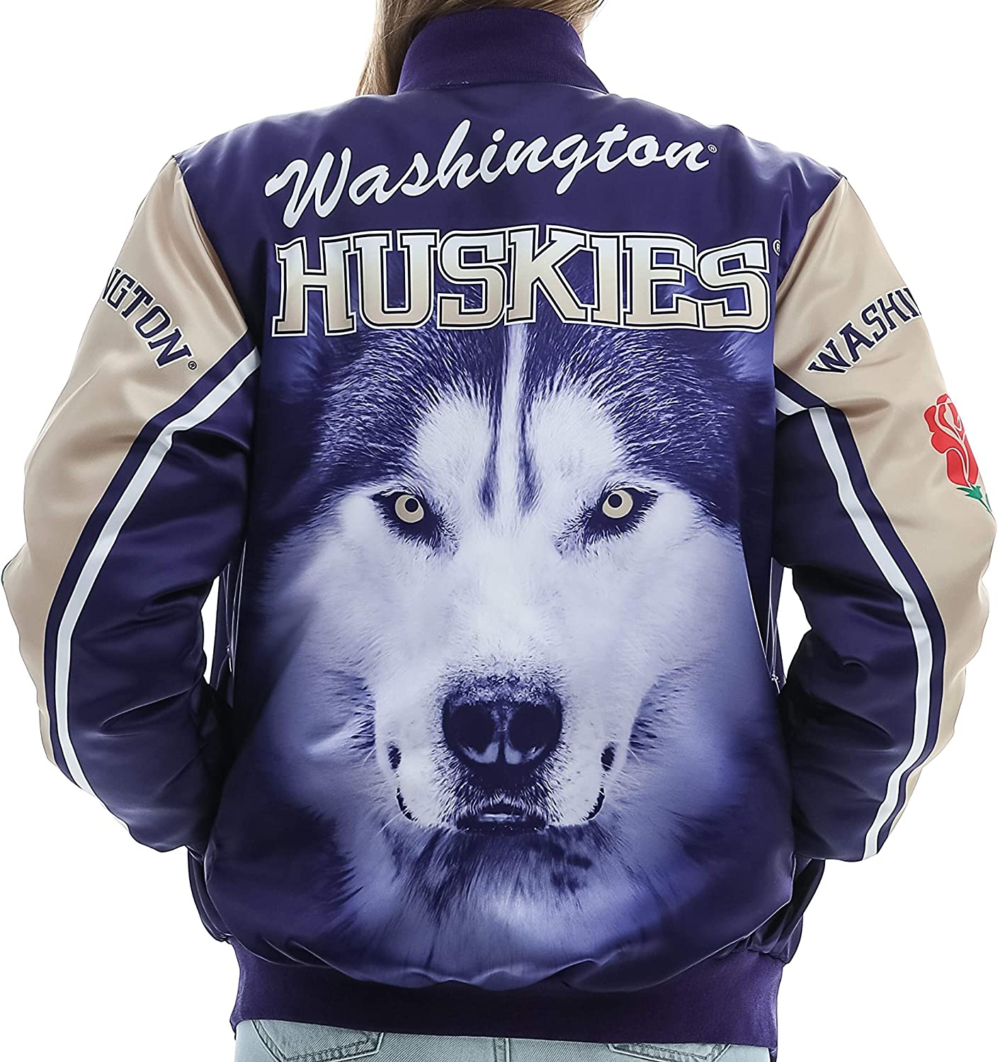 Twin Vision Activewear Washington Huskies Satin Bomber Jacket (Rose)