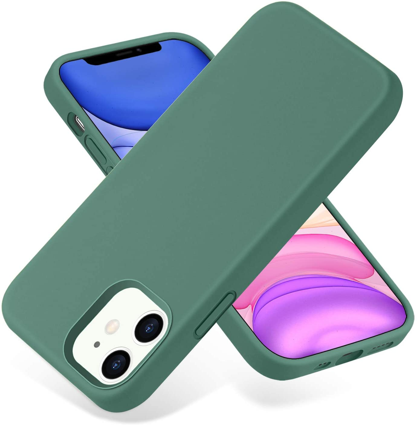 SNBLK Designed for iPhone 12 / iPhone 12 Pro Case Liquid Silicone 6.1 Inch (2020), Soft Thick Protective Rubber Cell Phone Basic Cases Covers for Women Men Girls Boys, Pine Green