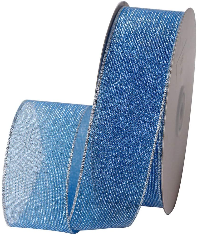Wired Chrismas Ribbon 25 Yards 1-1/2'' Sheer Organza Glitter Crafts Gift Wrapping Festive Ribbons Chrismas Design Decorations (Blue)
